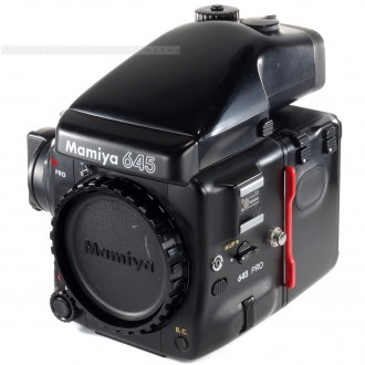 Mamiya 645 PRO Body with Film Back HA401 + AE Prism Finder FE401 + Crank